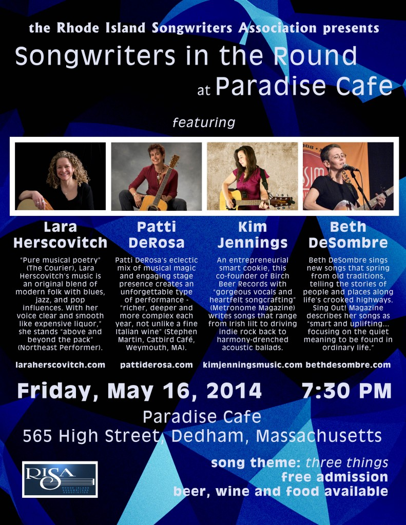 Songwriters in the Round at the Paradise Cafe Dedham, May 16, 2014 with Beth Desombre, Lara Herscovitch, Patti DeRosa, Kim Jennings