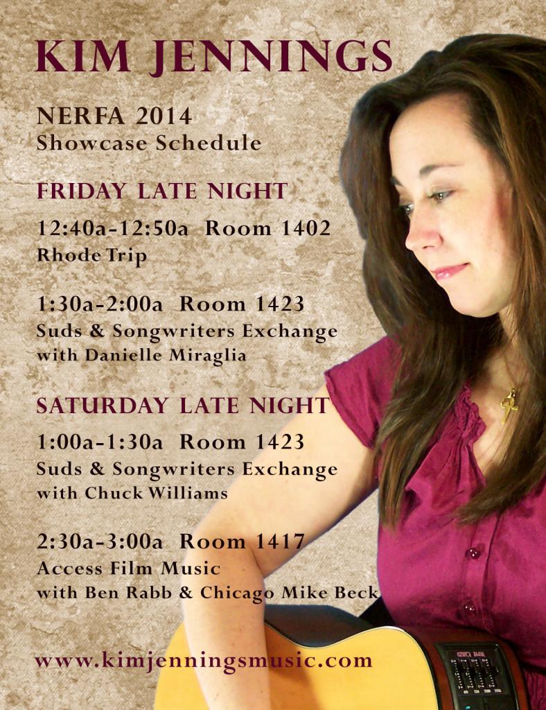 Kim Jennings NERFA guerilla showcase schedule