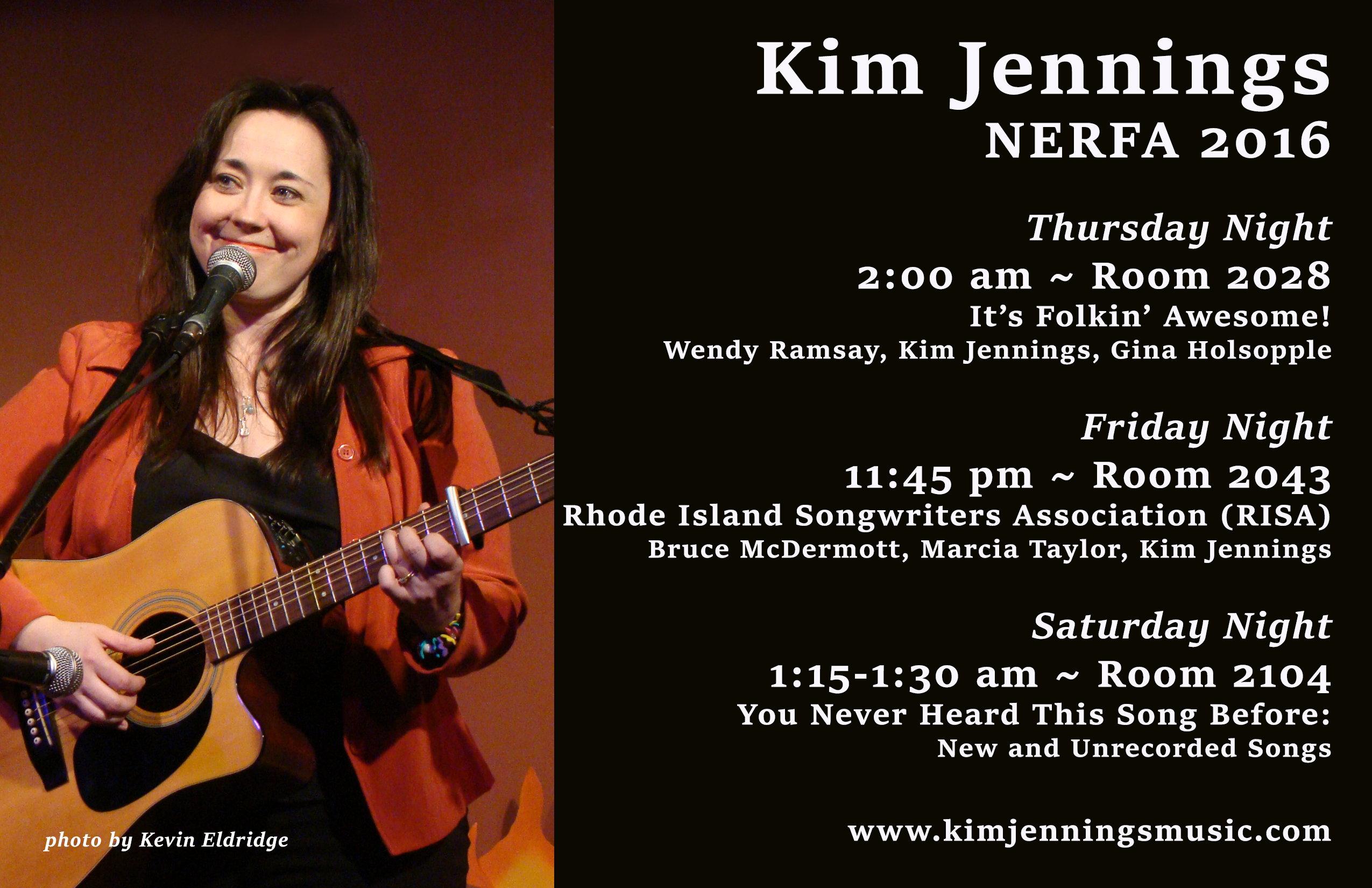 Kim Jennings NERFA 2016 Late Night Schedule